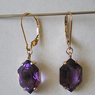 Vintage 14k Gold Fancy Cut  Amethyst Earrings