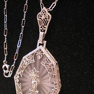 c1920 14k Gold Camphor Glass Crystal Diamond Necklace Pendant