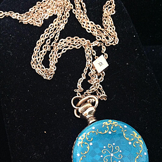 Antique Sterling Enamel Pocket Watch & Long Chain Gold Slide Lovely