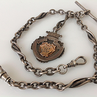 Antique Sterling Silver English Hallmarks Double Albert Watch Chain & Fob Amazing Condition