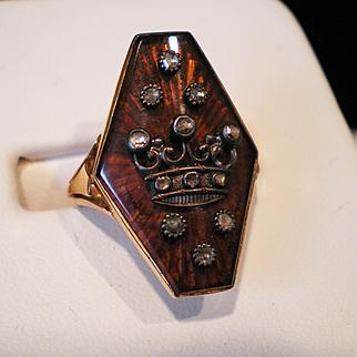 Antique Enamel Rose Cut Diamond 18k Gold  Shield Ring Excellent Condition