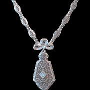 C1920 14k Gold Diamond Filigree Necklace Perfect