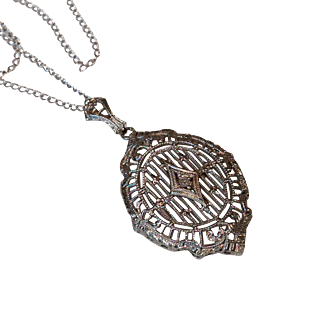 Vintage 1930 10k Gold Diamond Filigree Pendant 14k Gold Chain
