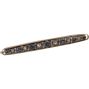 14k Rose Cut Diamonds Sapphires 14k Gold Bar Pin 3 Inches Excellent Condition