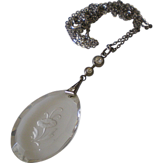Vintage Art Deco Carved Glass Crystal Rhinestone Drop Sterling Silver Chain