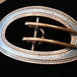 C1900 Antique Kerr Silver Enamel Sash Belt Buckle