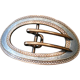 C1900 Antique Kerr Silver Enamel Sash Belt Buckle
