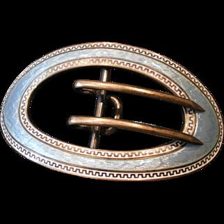 C1900 Antique Kerr Silver Enamel Sash Belt Buckle Large