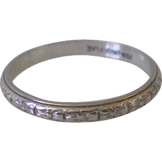 Art Deco Platinum Engraved Flower Eternity Band Ring Size 4 ¾ Excellent condition