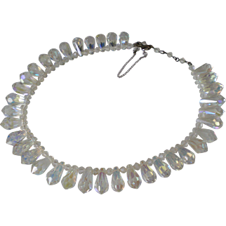 Amazing Vintage AB Crystal Statement Necklace Excellent Condition