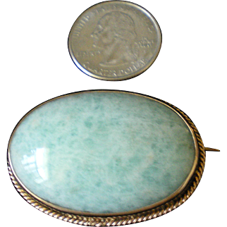 Victorian Aventurine Pin Hallmarked 9CT Authentic Original Antique Brooch