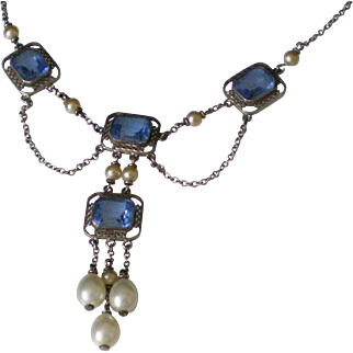 Beautiful c1920 Sterling Silver  Festoon Necklace Great Condition