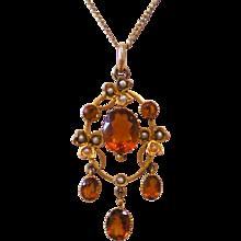 C1900 Antique Citrine Natural Pearl 9ct Gold Necklace Pendant