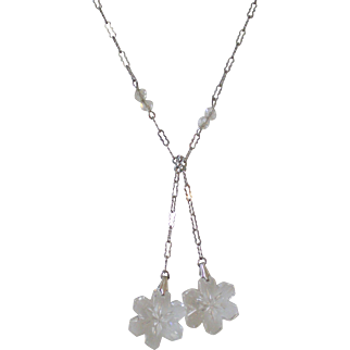c1920 Lariat Crystal Carved Snowflake Drop Silver Necklace