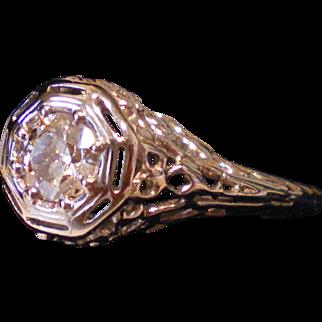 C1920 18K .25 Beautiful Diamond Filigree Ring Size 3.5  Great Condition