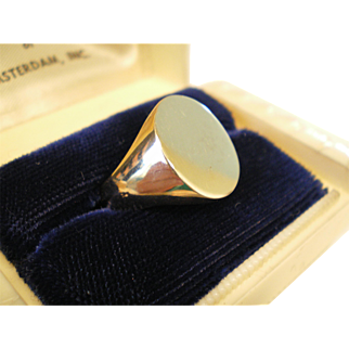 Vintage Classic 14K Solid Gold Signet Ring Not Initialed