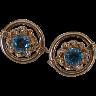 C1940 Sparkling Blue Zircon 14K Gold Earrings Excellent Condition