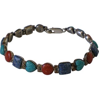 Sterling Silver Coral Turquoise Lapis Signed Southwest Bracelet