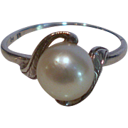 Vintage Mikimoto Cultured Pearl Sterling Silver Ring