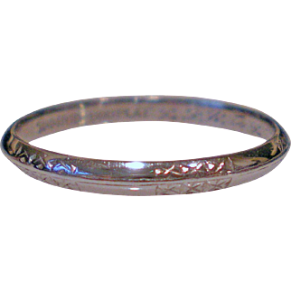 1939 Platinum Engraved Eternity Band Size 5 ½  Perfect