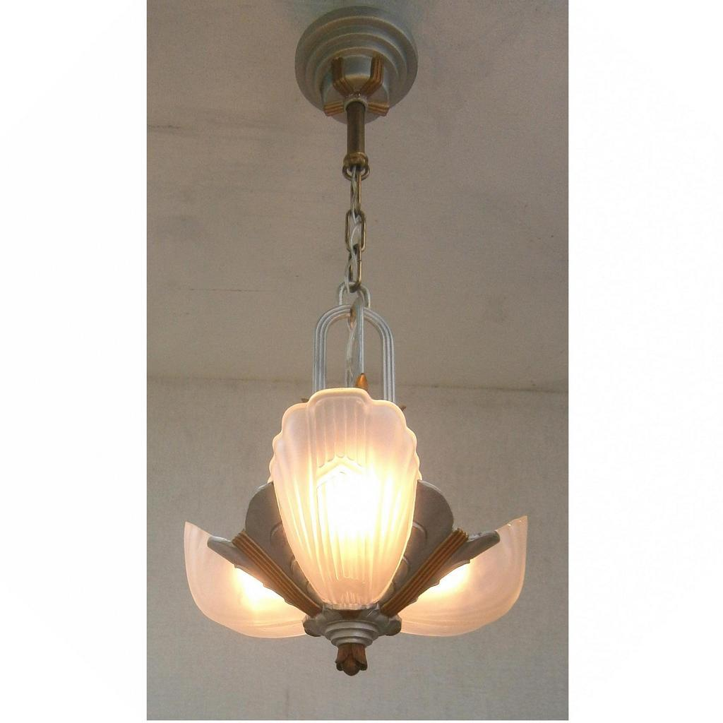 Vintage art deco markel 3000 line 3 light slip shade chandelier roll over large image to magnify click large image to zoom arubaitofo Image collections