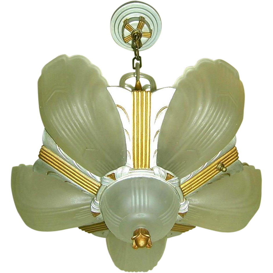 Vintage art deco markel 3000 line 6 light slip shade chandelier vintage art deco markel 3000 line 6 light slip shade chandelier lofty lighting ruby lane aloadofball Gallery
