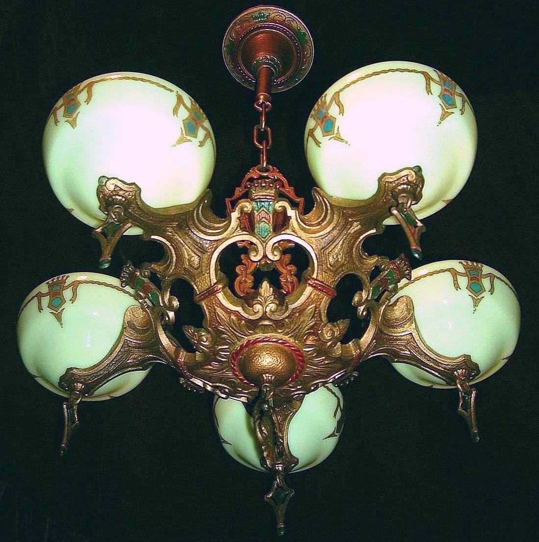 Vintage Art Deco Slip Shade Chandelier By Gill Glass Lofty Lighting Ruby Lane