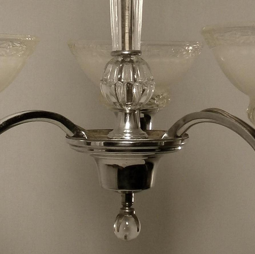 This Is Not Your Grandma S Chandelier: 1930's Markel 3-light Chrome And Crystal Chandelier From