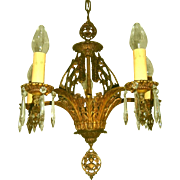 Sparkling Brass and Crystal Tudor Style Chandelier