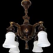 Rare Antique 4-light Lightolier Chandelier