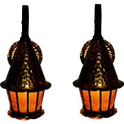 Pair Copper Porch Lights Hammered Tudor Style