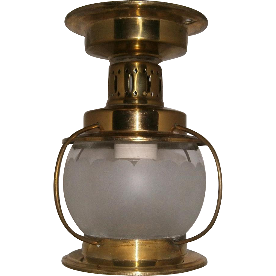 Vintage Moe Light Fixture: Vintage Brass Moe Marine Style Ceiling Porch Light From