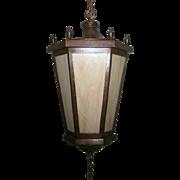All Brass Neoclassical Slag Glass Lantern Porch Light
