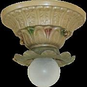 Three Vintage Art Deco Single-Bulb Flush Mounts