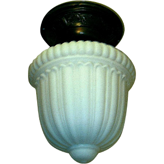 Antique Neoclassical Milk Glass Flush Mount