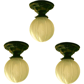 Lovely Set Antique Cut Glass Lightolier Flush Mounts