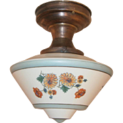 Charming Vintage Hand Painted Deco Style Flush Mount