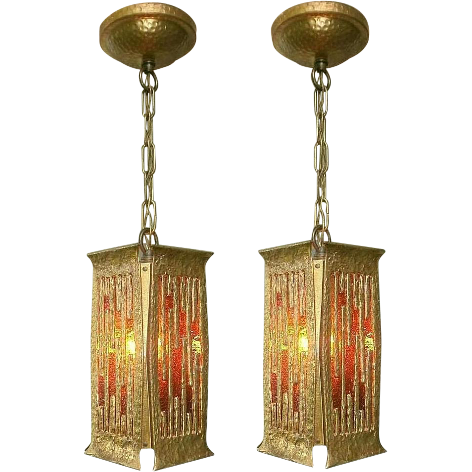 Pair Brutalist Style Pendant Lanterns by Moe Lighting  Lofty Lighting | Ruby Lane  sc 1 st  Ruby Lane : brutalist lighting - www.canuckmediamonitor.org