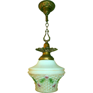 Large Consolidated Glass Basket Pendant