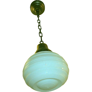 Antique Milk Glass Pendant Light Fixture
