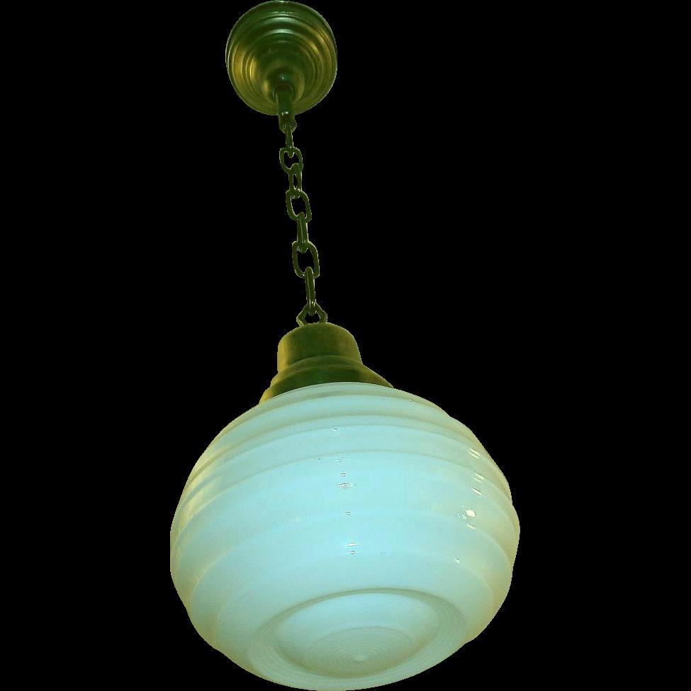 Antique Milk Glass Pendant Light Fixture From