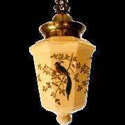 Antique Custard Glass Pendant with Blue Bird Decoration