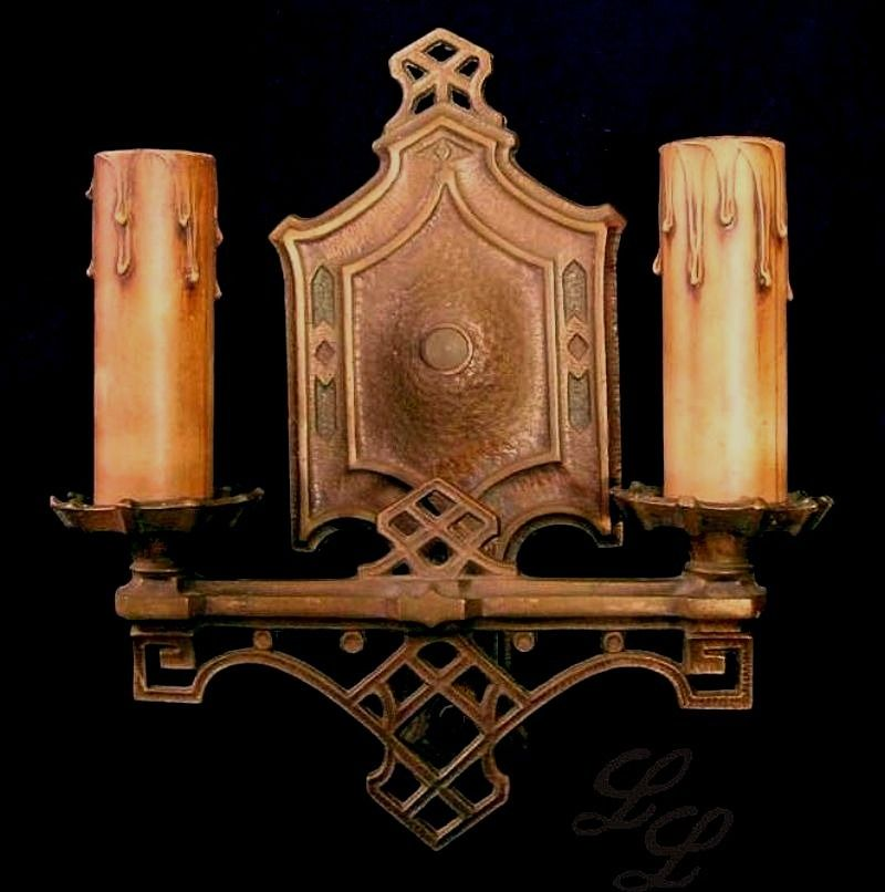 Vintage Pair Arts Crafts Wall Sconce Light Fixtures