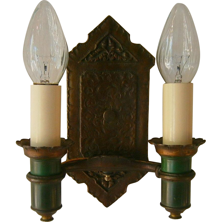 Bronze Wall Sconces For Candles : Pair Vintage Tudor 2-Candle Bronze Plated Wall Sconces by Radiant from loftylighting on Ruby Lane