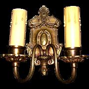 Antique Pair of Double Candle Bronze Sconces