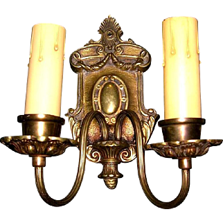 Antique Pair of Double Candle Bronze Sconces
