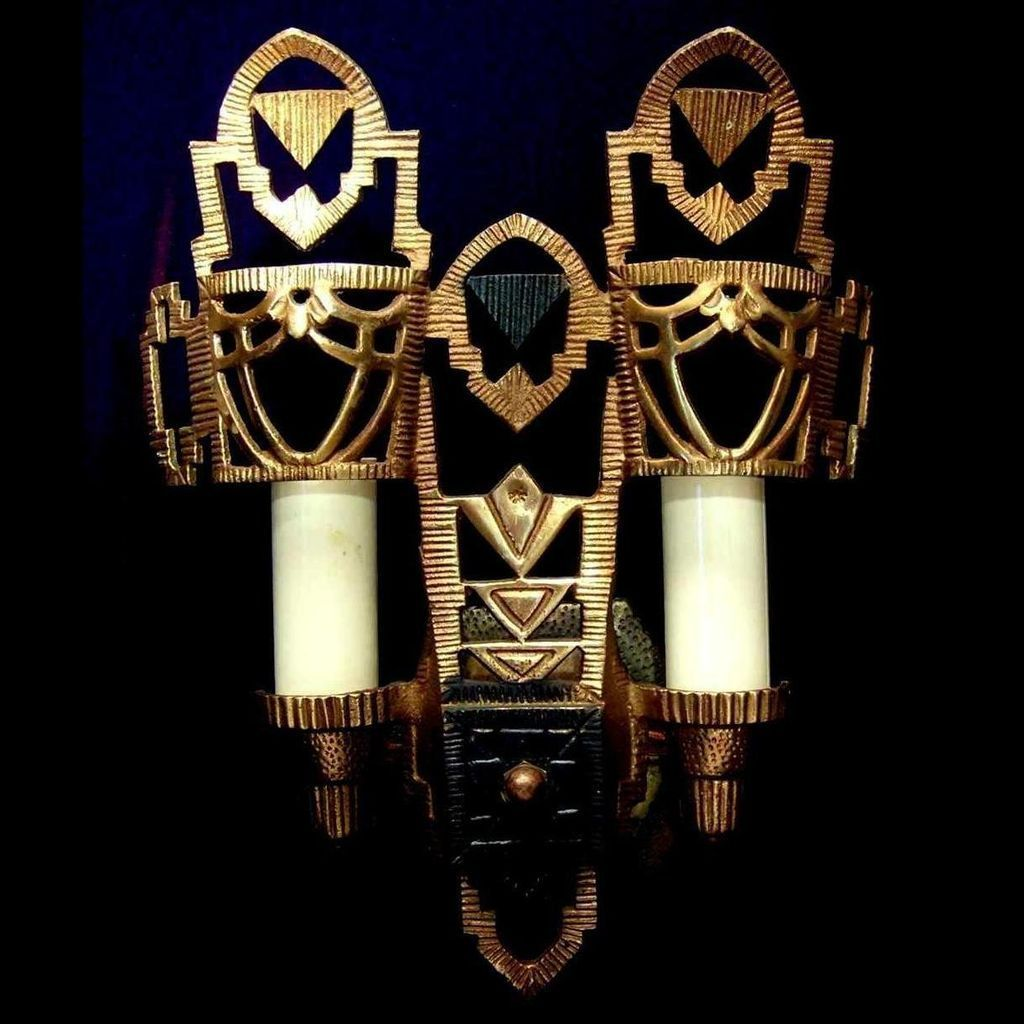 Art Deco Wall Sconces set 6 vintage art deco brass wall sconceslincoln from