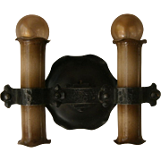 Rare Pair Machine Age Iron and Brass Sconces