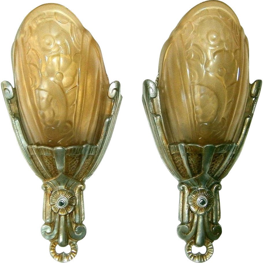 Vintage Antique Wall Sconces : Vintage Pair Lincoln Fleurette Slip Shade Wall Sconces from loftylighting on Ruby Lane