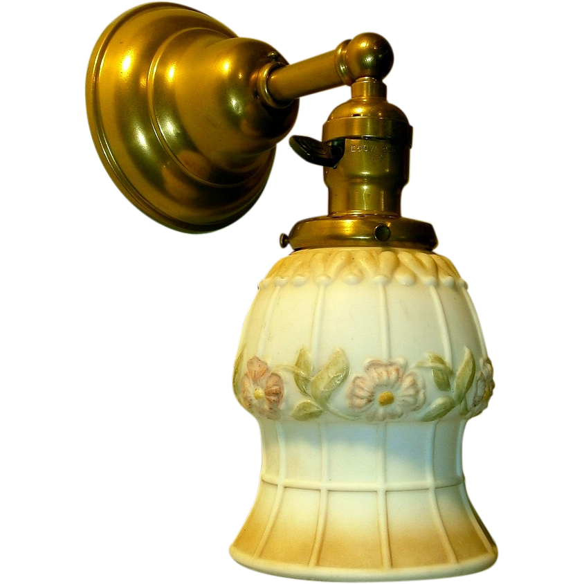 Antique Gas Wall Sconces : Pair Antique Gas Style Wall Sconces Flowered Shades from rubylane-sold on Ruby Lane